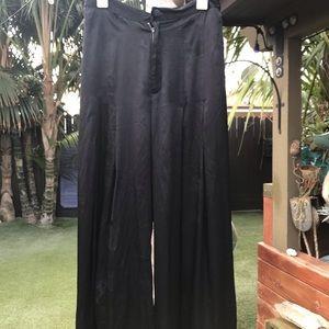 NWT Free People Black Satin wide leg pants